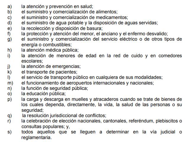 Detalle de los servicios que sería esenciales de aprobarse el proyecto de ley